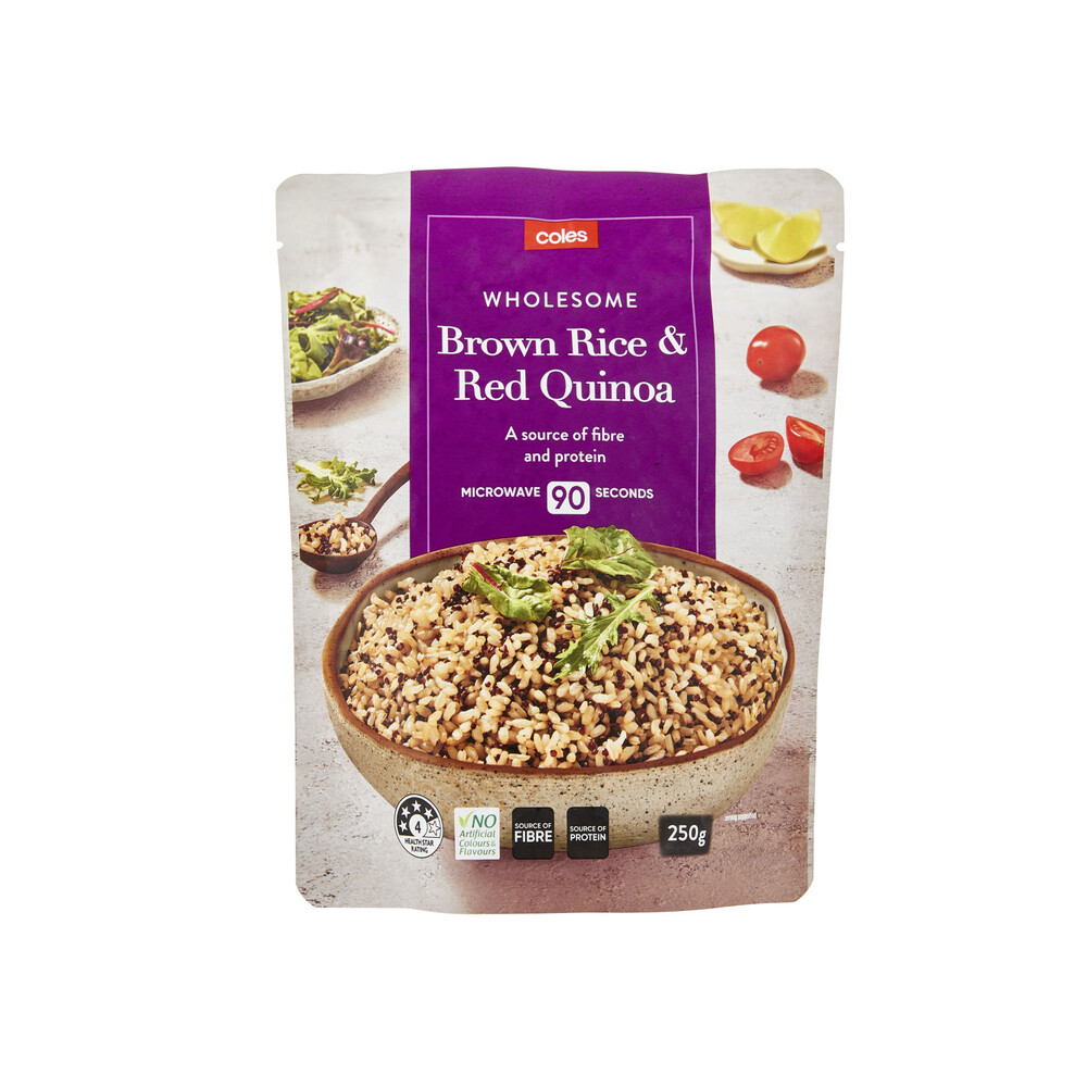 Coles Microwave Brown Rice & Quinoa 250g 49310645094876