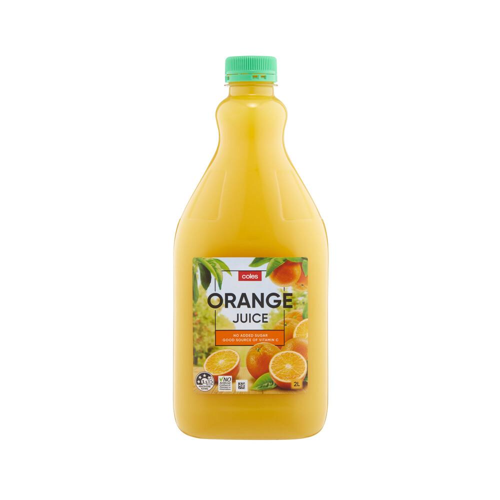 Coles Vitamin C Source No Added Sugar Orange Juice Drink Refreshment 2l Ebay