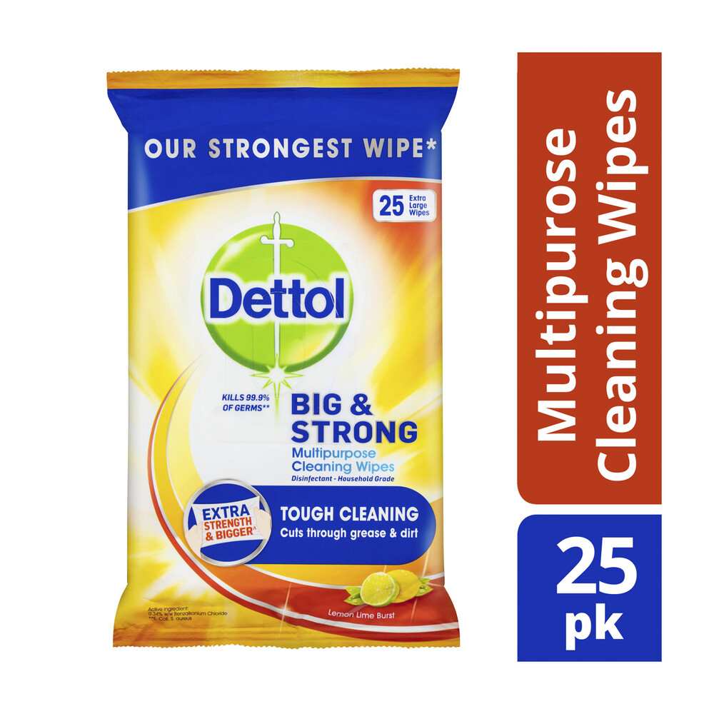 Kitchen Cleaning Wipes: Dettol Big And Strong Kitchen Antibacterial Cleaning 25