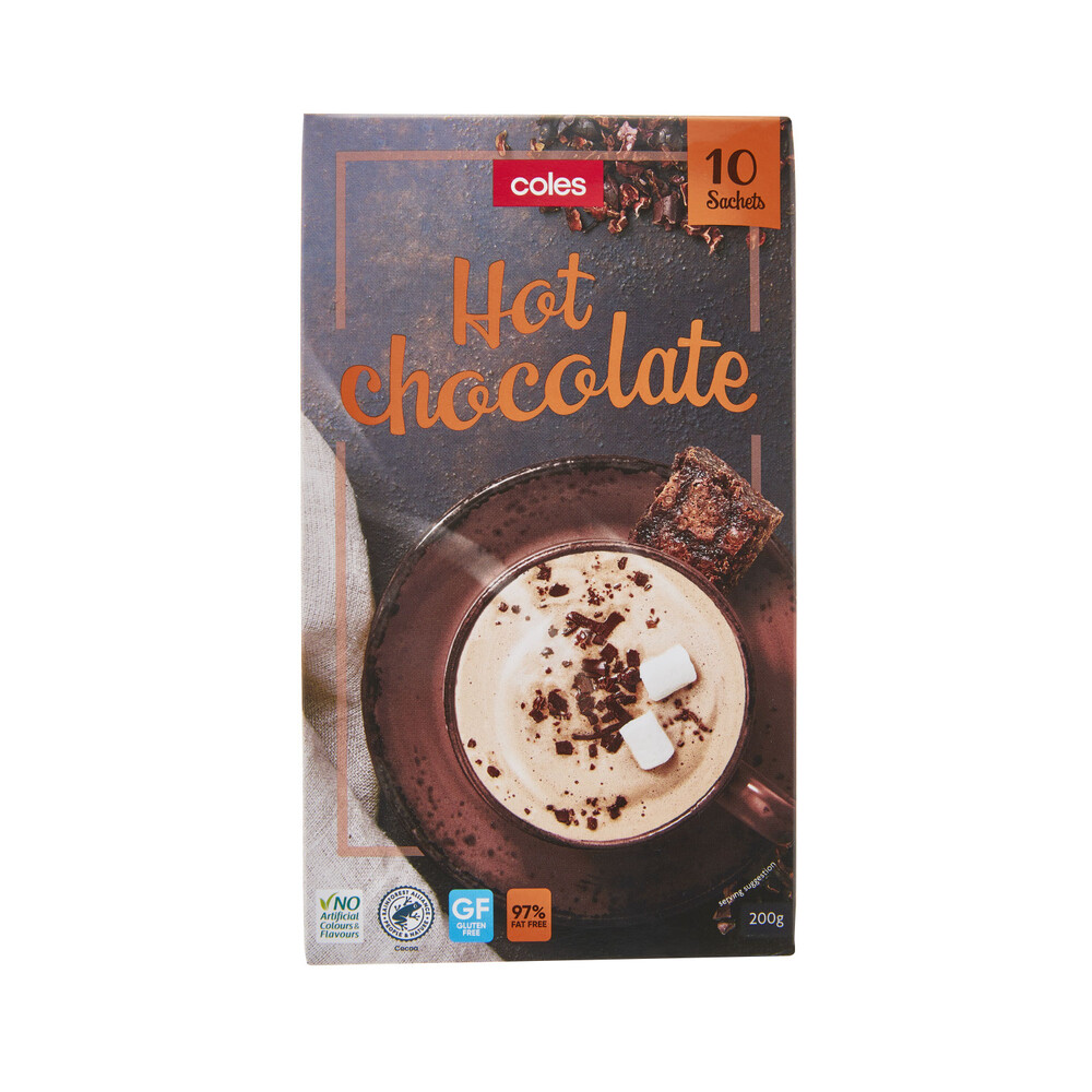Details About Coles Hot Chocolate Drink 10 Pack 200g