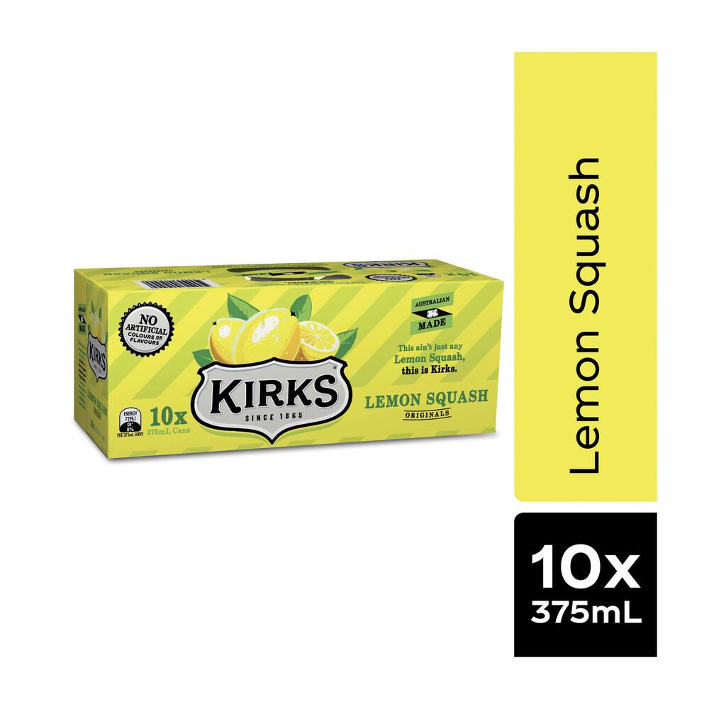 Kirks Lemon Squash Multipack Cans 375 Ml 10 Pack 9300624009603 Ebay